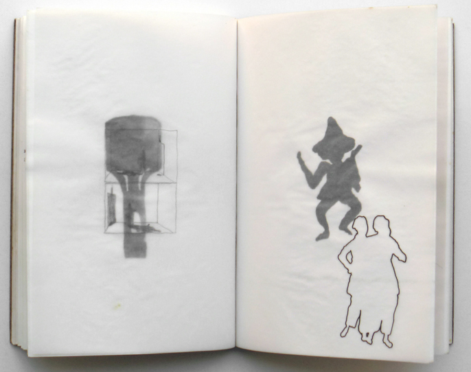 'Book 1', typewriting, linocut-print, watercolour and graphite on paper, 23,5 x 16 cm, 1994