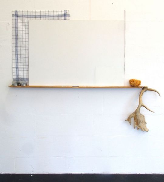 'Drawing with lines, squares and one spiral', cotton cloth, nails, plywood, metal spiral, wood, hook, sponge, lead, glass and antlers, 130 x 140 x 13 cm, 2014