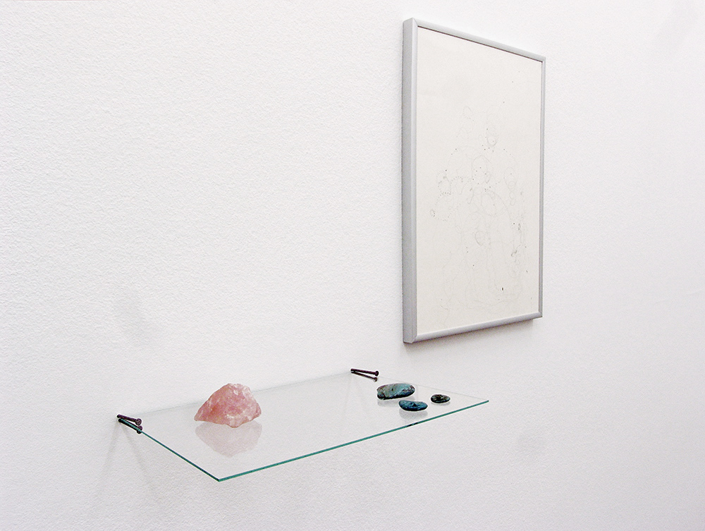 'Always the Landscape (A4 + A3)', graphite on paper, aluminum frame, oil on stone, rose quartz, nails, glass, 43 × 63 × 20.5 cm, 2015
