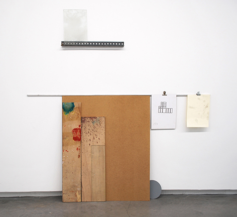 'An A4 Leaned Against The Wall', paint on wooden boards, iron girder, aluminum bar, clamps, ink on cardboard, graphite on paper, mirror, 164 x 160 x 4 cm, 2015