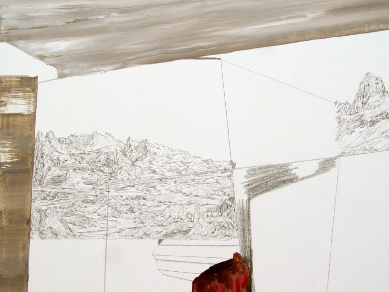 'Around LN's World in Eighty Days' #1 (detail), oil and graphite on canvas, 190 x 160 cm, 2014