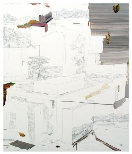'Around LN's World in Eighty Days' #2, oil and graphite on canvas, 190 x 160 cm, 2014