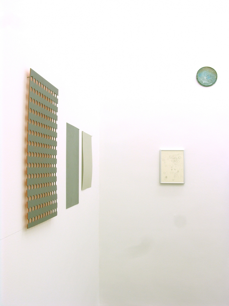 'Circles / Simple Reflections on Basic Dimensions' (partial installation view), graphite, acrylic paint, nails, metal plate, cardboard, graphite on paper, aluminum frame, oil paint on metal, wood, 2015