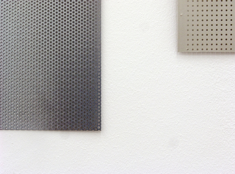 'Circles / Simple Reflections on Basic Dimensions' (detail), metal plates and cardboard, 2015