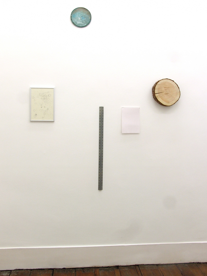 'Circles / Simple Reflections on Basic Dimensions' (partial installation view), nails, metal, cardboard, graphite on paper, aluminum frame, oil paint on metal, wood, 2015