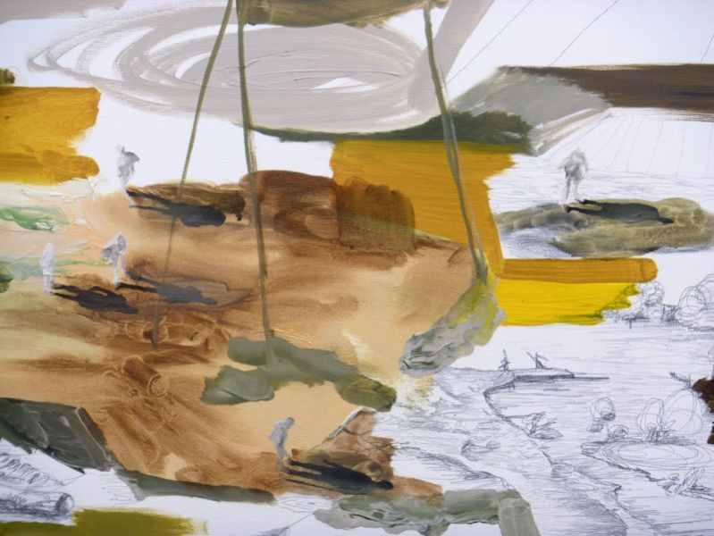 from the series 'In Between Time' (''Entre el Tiempo' / 'Entre o Tempo'), detail, graphite and oil on canvas, 90  x 180 cm, 2010