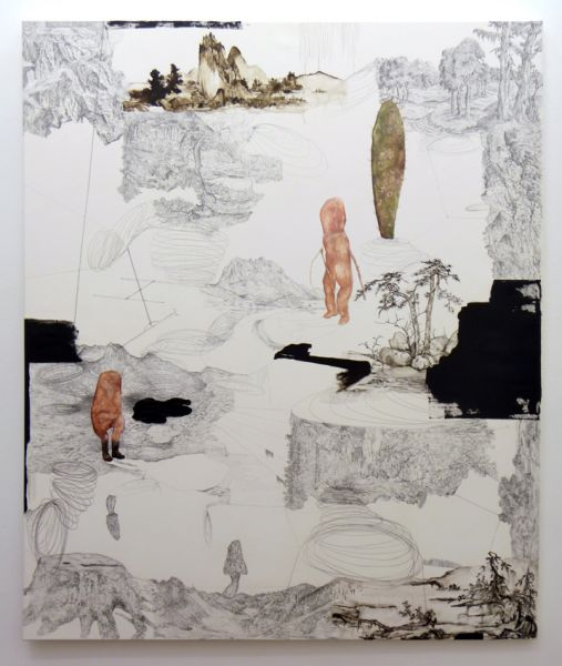 from the series 'In Between Time' (''Entre el Tiempo' / 'Entre o Tempo'), graphite, watercolur and oil on canvas, 180  x 150 cm, 2011