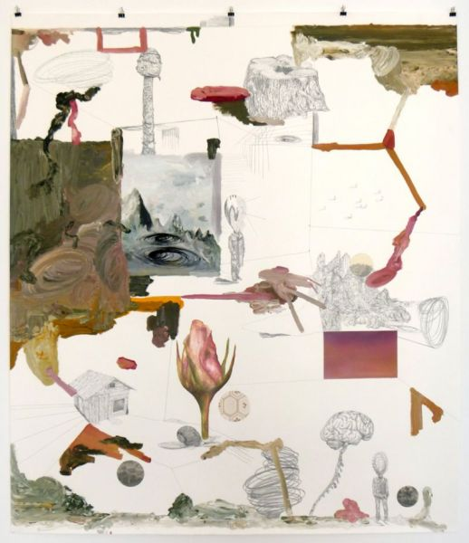 from the series 'In Between Time' (''Entre el Tiempo' / 'Entre o Tempo'), collage with wallpaper and offsetprinting, graphite, oil and watercolour on paper, 150  x 114 cm, 2010