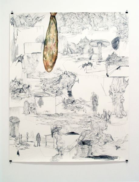 from the series 'In Between Time' (''Entre el Tiempo' / 'Entre o Tempo'), graphite and watercolour on paper, 175  x 140 cm, 2010