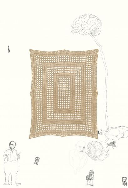 from the series 'Metamorfopsia Two Thousand Five', graphite and crochet on paper, 110 x 75 cm, 2005