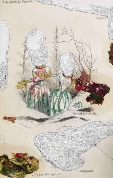 "'Bonjour Monsieur G. / et là', acrylic, graphite and oil on handcoloured steel engraving by J. J. Grandville ""Les Fleurs Animées"" (1867), 25 x 15,5 cm, 2013"