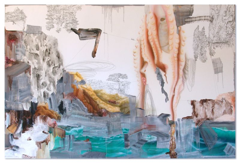 'Naufragio / after Carlo Bonavia', graphite, oil, watercolour, charcoal and acrylic on canvas, 140 x 210, 2012