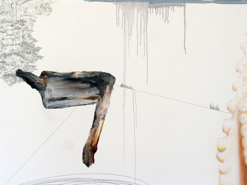 'Naufragio / after Carlo Bonavia' (detail), graphite, oil, watercolour and acrylic on canvas, 2012