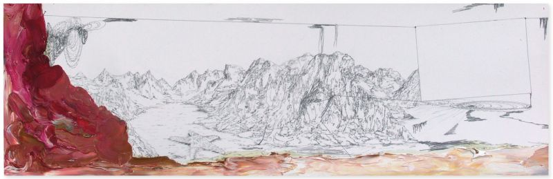from the series 'Still Alive ... se bifurcan y solapan', graphite and oil on paper, 18 x 55 cm, 2013