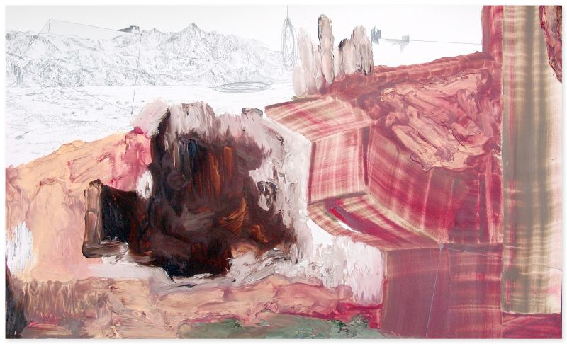 from the series 'Still Alive ... se bifurcan y solapan', graphite and oil on paper, 42 x 70 cm, 2012