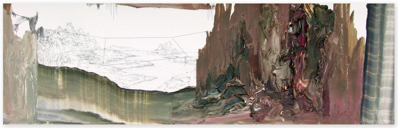 from the series 'Still Alive ... se bifurcan y solapan', graphite and oil on paper, 22 x 70 cm, 2013