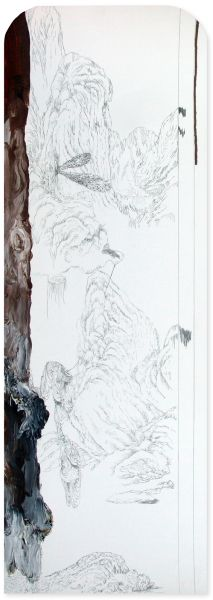 from the series 'Still Alive ... se bifurcan y solapan', graphite and oil on paper, 67 x 23 cm, 2013