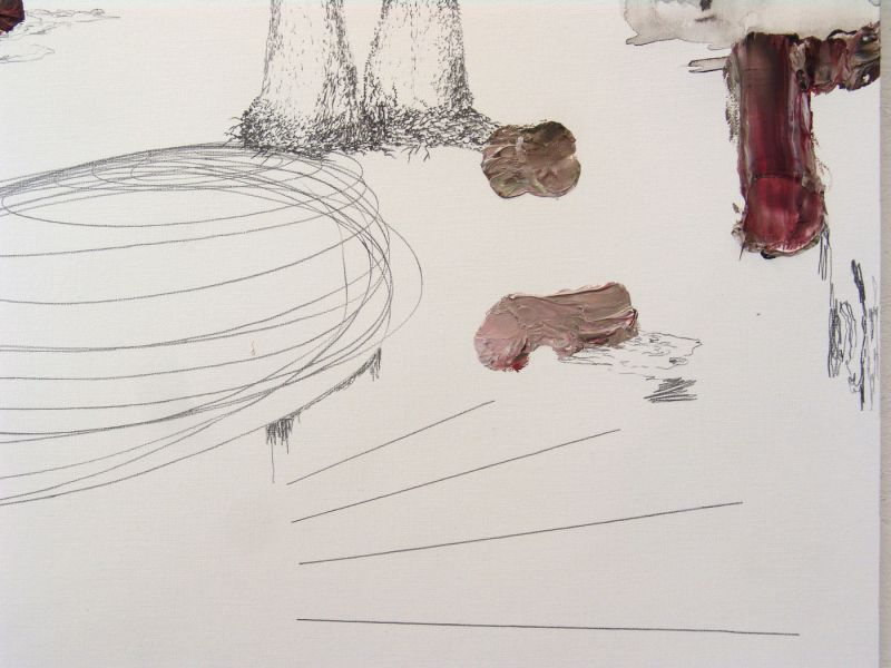 from the series 'Still Alive ... se bifurcan y solapan' (detail), graphite and oil on paper, 2012