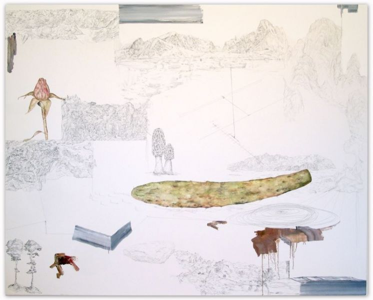 from the series 'Oh,...', oil, watercolour and graphite on canvas, 160 x 200 cm, 2012