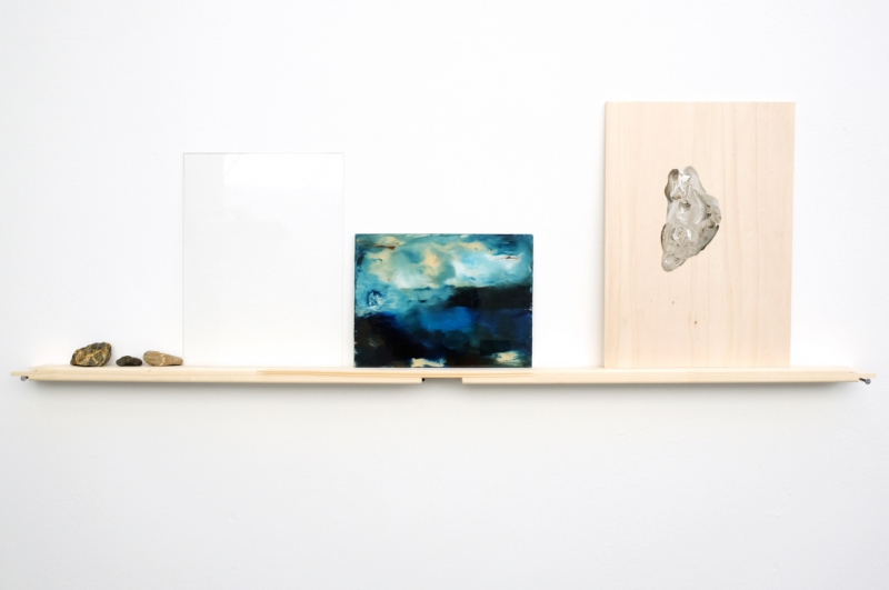 'A Line. A day. My Memory.', wood, nails, stones, glass, oil under glass, oil on wood, 95 x 31 x 4,5 cm, 2017