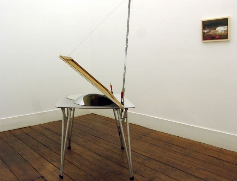 '45°', table, c-clamps, rubber cord, extensive handle, string, oil on canvas, mirrors, 197 × 100 × 90 cm, 2014