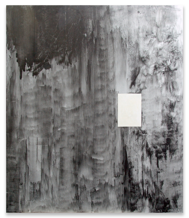 'Rest. For example, in a DIN A4', partial installation view Vera Cortês Art Agency, Lisbon (PT) 2016, graphite and acrylic paint on canvas, 200 × 300 cm, 2015