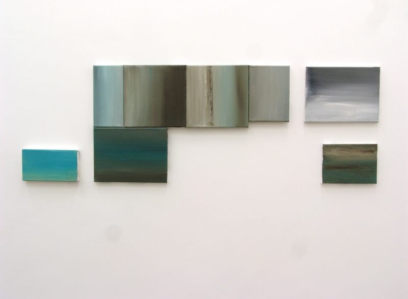 'Rest. For example, in a DIN A4', partial installation view Vera Cortês Art Agency, Lisbon (PT) 2016, oil on canvas, 38 × 116 cm, 2015
