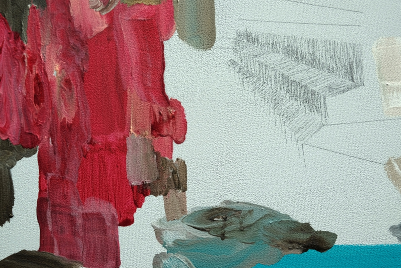 'The Possibility of Isolation', detail: oil colour and graphite on acrylic colour on canvas
