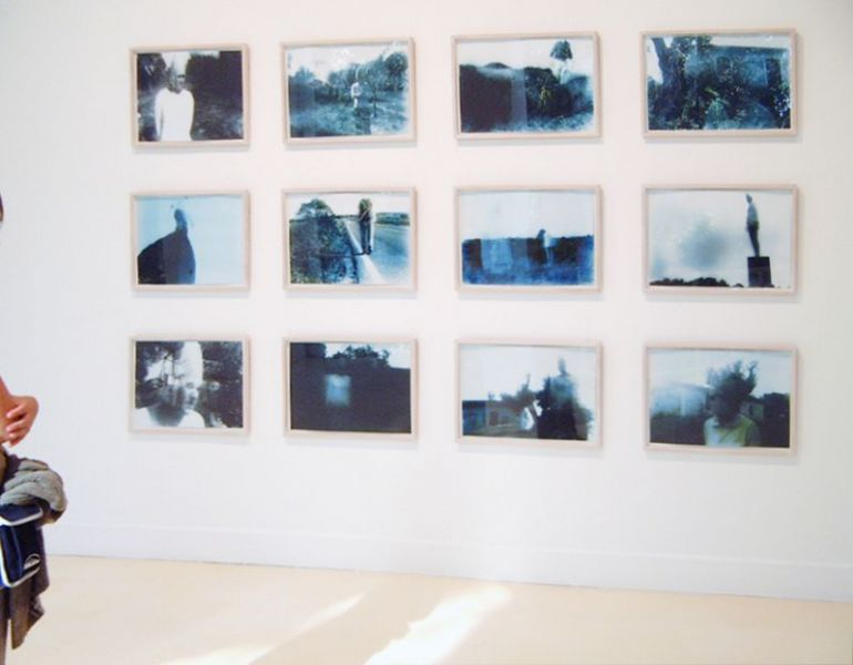 'Harmless Solitaries (Sintra)', blue-toned black and white camera-obscura-photography on PE coated paper, 40 x 70 cm each, 2001, exhibition view Municipal Museum / White Pavillon, Lisbon (PT)