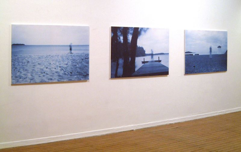 'Harmless Solitaries (Finland)', camera obscura prints on linen, 100 x 160 cm each, 2001, exhibition view Luís Serpa Projectos Gallery, Lisbon (PT)