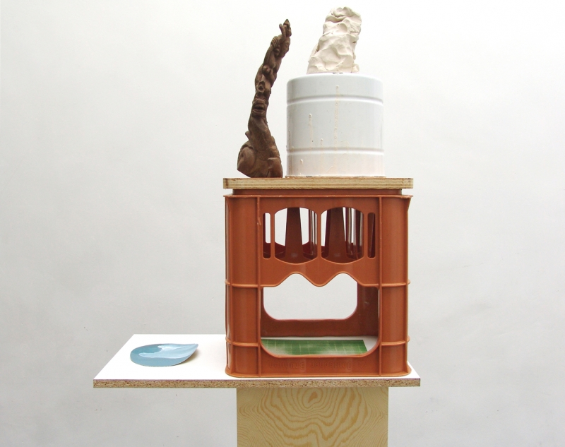 'The Dormouse's Dream (Monument)', bottle box, clay, formica, wood, oil on canvas, enamel coated pot, wooden statue, 2015
