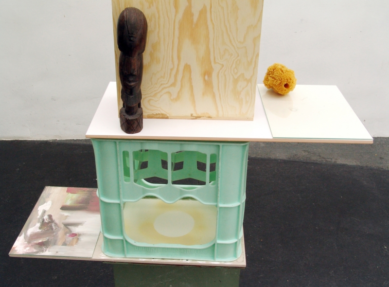 'The Dormouse's Dream (Monument)', details: bottle box, lacquered iron stand, flagging, glass plates, formica, wood, sponge, graphite on paper, enamel on paper, oil on canvas, wooden statue