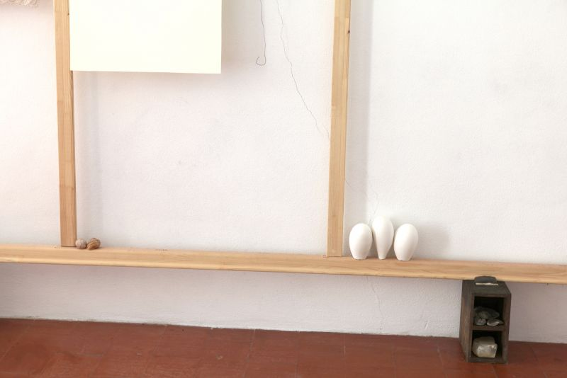 'Still' (detail), stretcher frame, paper, wire, snail shells, fossils, stones, plaster and wooden drawers with iron handles, 2012