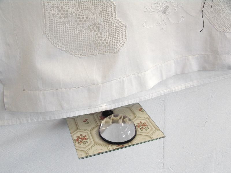 'Drawing with Six Snail Shells and Two Lines' (detail), sheet with embroidery, wire, glass, c-clamp, loupe on wallpaper and crochet work, 2012