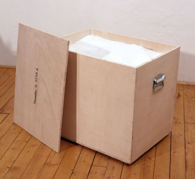 from the series 'Portable Landscapes', plaster, wooden box and handles, 68,5 x 61 x 51,5 cm, 1998